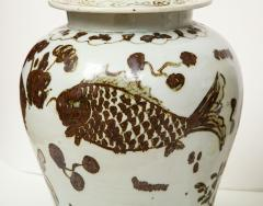 Pair of Brown and White Ginger Jars - 1312585