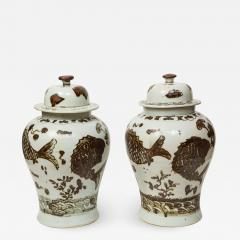 Pair of Brown and White Ginger Jars - 1314098