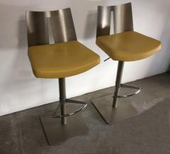 Pair of Brushed Steel Swivel and Adjustable Barstools or Countertop stools - 1099848