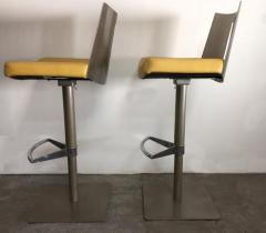 Pair of Brushed Steel Swivel and Adjustable Barstools or Countertop stools - 1099849