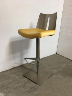 Pair of Brushed Steel Swivel and Adjustable Barstools or Countertop stools - 1099850