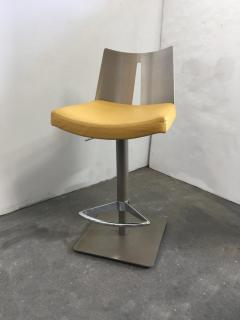 Pair of Brushed Steel Swivel and Adjustable Barstools or Countertop stools - 1099851