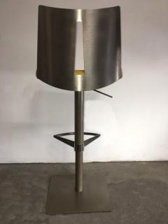 Pair of Brushed Steel Swivel and Adjustable Barstools or Countertop stools - 1099852