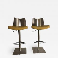 Pair of Brushed Steel Swivel and Adjustable Barstools or Countertop stools - 1106949