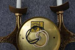 Pair of Brutalist Brass Sconces by Moe Bridges Mid Century Modern - 1796266