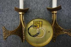 Pair of Brutalist Brass Sconces by Moe Bridges Mid Century Modern - 1796267