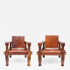 Pair of Brutalist Safari Chairs - 265116
