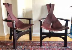 Pair of California Studio Leather Sling Chairs - 972954