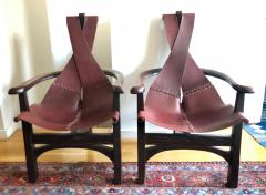 Pair of California Studio Leather Sling Chairs - 972955