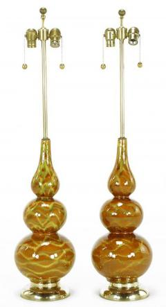 Pair of Caramel Glazed Ceramic Triple Gourd Form Table Lamps - 277153