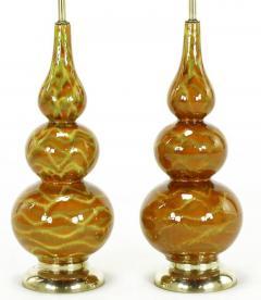 Pair of Caramel Glazed Ceramic Triple Gourd Form Table Lamps - 277154