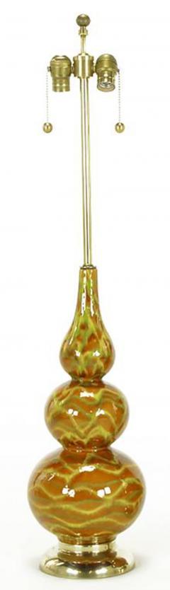Pair of Caramel Glazed Ceramic Triple Gourd Form Table Lamps - 277155