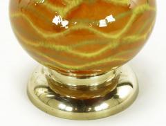 Pair of Caramel Glazed Ceramic Triple Gourd Form Table Lamps - 277157