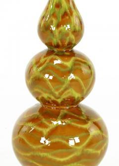 Pair of Caramel Glazed Ceramic Triple Gourd Form Table Lamps - 277158