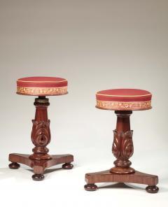 Pair of Carved Mahogany Adjustable Piano Stools - 759047