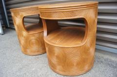 Pair of Carved Round End Tables in the Aesthetic of Gabriella Crespi - 1280414