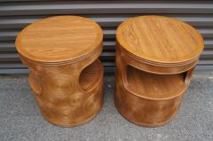 Pair of Carved Round End Tables in the Aesthetic of Gabriella Crespi - 1280416