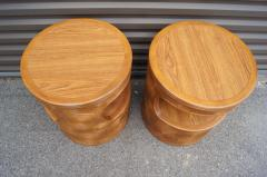 Pair of Carved Round End Tables in the Aesthetic of Gabriella Crespi - 1280417