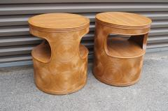 Pair of Carved Round End Tables in the Aesthetic of Gabriella Crespi - 1280419