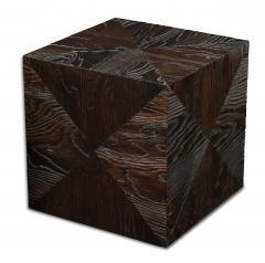 Pair of Carved Wood Cube Tables - 993311