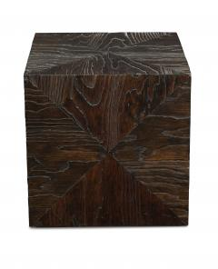 Pair of Carved Wood Cube Tables - 993313