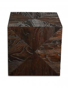 Pair of Carved Wood Cube Tables - 993314