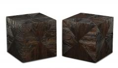 Pair of Carved Wood Cube Tables - 993315