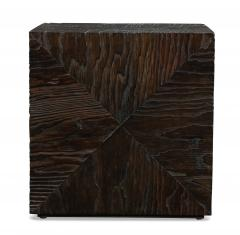Pair of Carved Wood Cube Tables - 993316