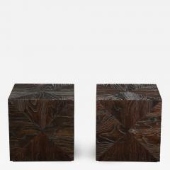 Pair of Carved Wood Cube Tables - 994946