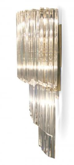 Pair of Cascading Crystal Glass Sconces by Camer - 775406