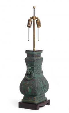 Pair of Cast Bronze Chinoiserie Table Lamps - 775390