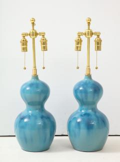 Pair of Ceramic Gourd Shaped Lamps - 1317746