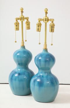 Pair of Ceramic Gourd Shaped Lamps - 1317747