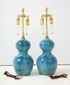 Pair of Ceramic Gourd Shaped Lamps - 1317754