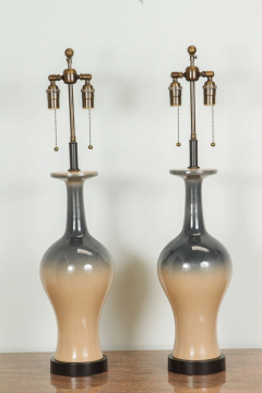 Pair of Ceramic Lamps with an Ombre Glazed Finish  - 1287313