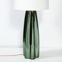 Pair of Channel Form Handblown Murano Iridiscent Viridian Green Table Lamps - 1950140