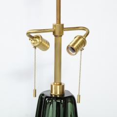 Pair of Channel Form Handblown Murano Iridiscent Viridian Green Table Lamps - 1950143