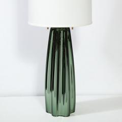 Pair of Channel Form Handblown Murano Iridiscent Viridian Green Table Lamps - 1950150