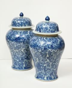 Pair of Chinese Blue and White Jars with Lids - 1311252