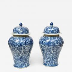Pair of Chinese Blue and White Jars with Lids - 1316911
