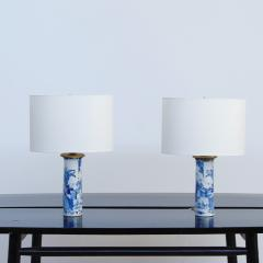 Pair of Chinese Blue and White Sleeve Vases Mounted as Lamps - 1718800