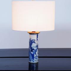 Pair of Chinese Blue and White Sleeve Vases Mounted as Lamps - 1718803
