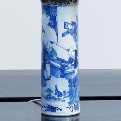 Pair of Chinese Blue and White Sleeve Vases Mounted as Lamps - 1718804