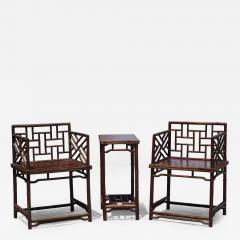 Pair Of Chinese Faux Bamboo Chairs And Table Made From Rare Zhazhen Wood    130496