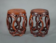 Pair of Chinese Hardwood Garden Seats - 327900