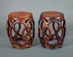 Pair of Chinese Hardwood Garden Seats - 327901