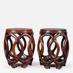 Pair of Chinese Hardwood Garden Seats - 328360