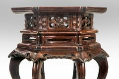 Pair of Chinese Hardwood Tables With Inset Marble Tops - 1061937