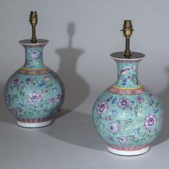 Pair of Chinoiserie Famille Rose Vase Lamps Turquoise and Pink - 1071336