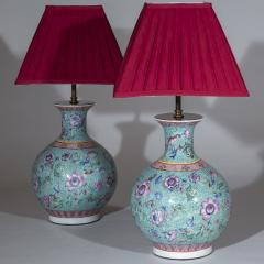 Pair of Chinoiserie Famille Rose Vase Lamps Turquoise and Pink - 1071337